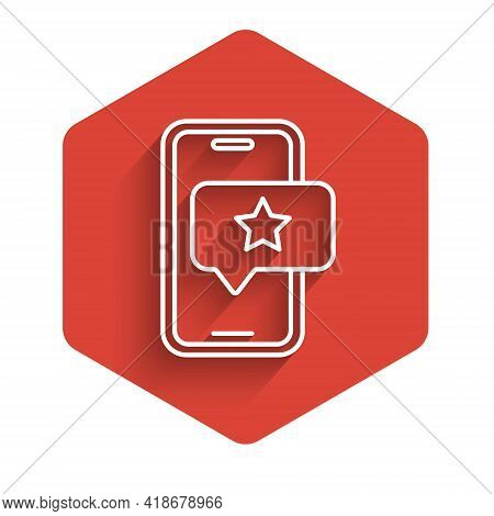 White Line Mobile Phone With Review Rating Icon Isolated With Long Shadow. Concept Of Testimonials M