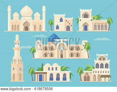 Cartoon Set Of Different Arabic Buildings In Traditional Style. Flat Vector Illustration. Islamic He