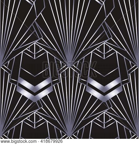 Art Deco Style Geometric Seamless Pattern In Black And Silver. Vector Illustration. Roaring 1920 Des