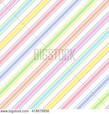 Rainbow Seamless Diagonal Striped Pattern, Vector Illustration. Seamless Pattern With Pastel Colorfu