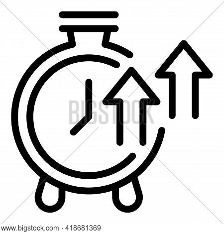 Stopwatch Growth Icon. Outline Stopwatch Growth Vector Icon For Web Design Isolated On White Backgro