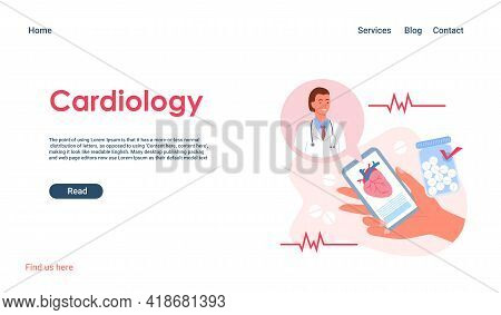 Cartoon Woman Hand Holding Mobile Phone For Medical Consultation, Cardiologist Doctor With Stethosco