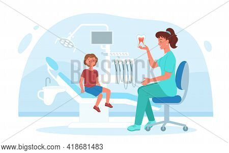 Kid Visits Dental Pediatric Clinic For Checkup Teeth And Gum Health, Dentistry Doctor