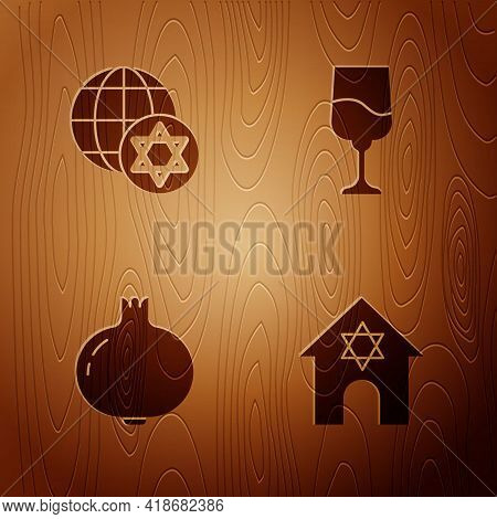Set Jewish Synagogue, World Globe And Israel, Pomegranate And Goblet On Wooden Background. Vector