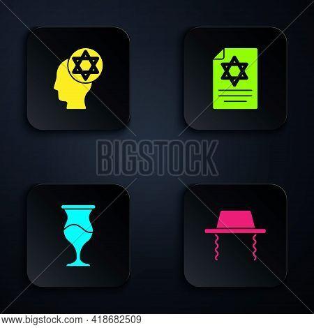 Set Orthodox Jewish Hat, , Jewish Goblet And Torah Scroll. Black Square Button. Vector