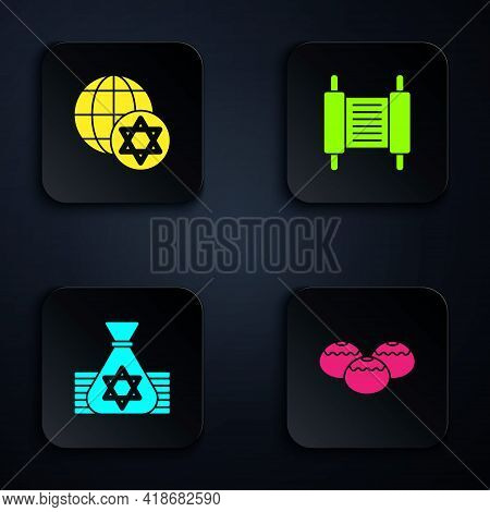 Set Jewish Sweet Bakery, World Globe And Israel, Money Bag And Torah Scroll. Black Square Button. Ve