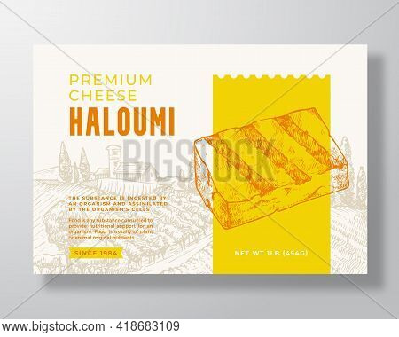 Premium Local Haloumi Food Label Template. Abstract Vector Packaging Design Layout. Modern Typograph