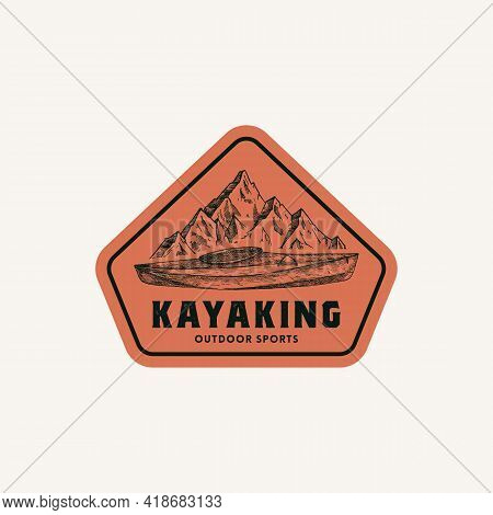 Kayaking Abstract Frame Sign, Symbol Or Logo Template. Hand Drawn Kayak Or Canoe Boat And Mountains