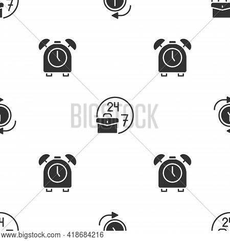Set Clock With Arrow, Always Busy And Alarm Clock On Seamless Pattern. Vector