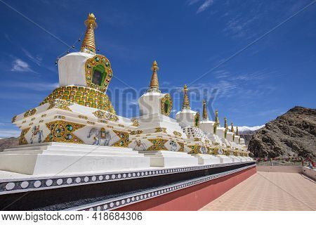 White Buddhist Stupa Or Pagoda In Tibetan Monastery Near Village Leh In Ladakh Region, Noth India