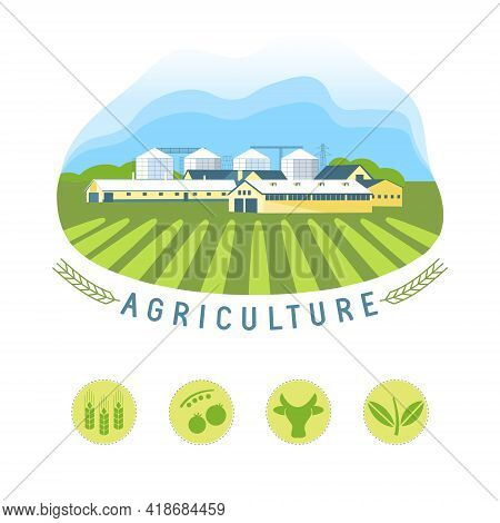 Vector Illustrations With Agriculture Concept. Farm Land, Agricultural Landscape Und Agrarian Comple