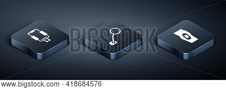 Set Isometric Mobile Holder, Plaster On Leg And Bicycle Rear View Mirror Icon. Vector