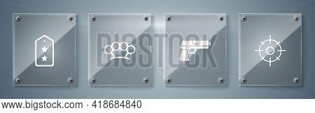 Set Target Sport, Pistol Gun, Brass Knuckles And Military Rank. Square Glass Panels. Vector