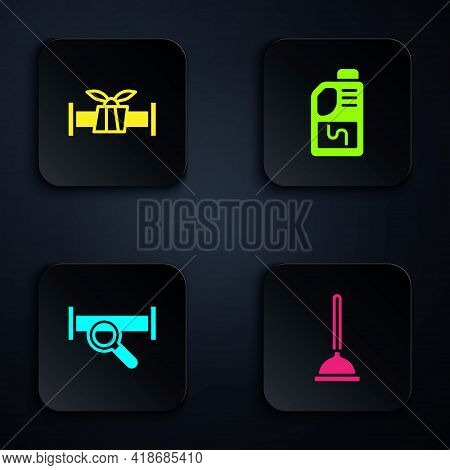 Set Rubber Plunger, Industry Metallic Pipe, And Drain Cleaner Bottle. Black Square Button. Vector