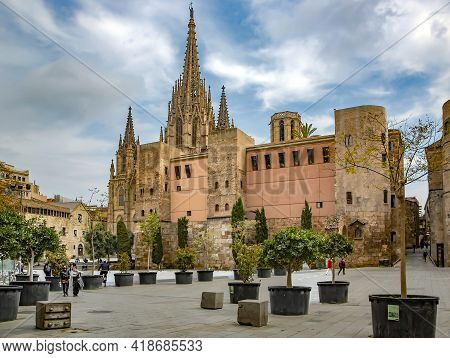 Spain, Barcelona, March, 2021: The Gothic Cathedral Of The Holy Cross And Saint Eulalia With Tower A