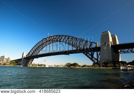 Sydney's Habour Bridge At Midday Viewd From The North Of The Bay, In Kirribilli. Sydney, New South W