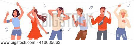 Dancing People Vector Illustration Set. Cartoon Young Happy Man And Woman Group Of Dancer Characters