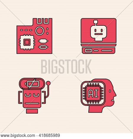Set Humanoid Robot, Motherboard Digital Chip, Robot And Low Battery Charge Icon. Vector
