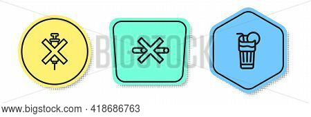 Set Line No Doping Syringe, Smoking And Fresh Smoothie. Colored Shapes. Vector