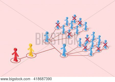 . The Toy Figures Of The People Depict The Shrinking Of The Structure Of The Business. Mass Unemploy