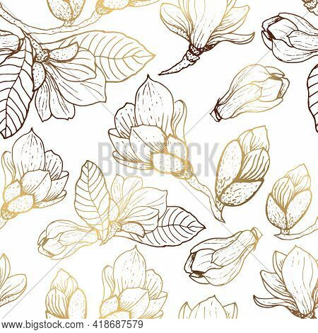 Gold Flowers Pattern. Seamless Pattern With Golden Magnolia Flowers. White Background. Vector Graphi