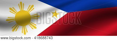 Banner With The Flag Of Philippines. Fabric Texture Of The Flag Of Philippines.