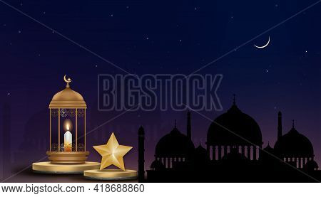 Eid Mubarak Islamic Greeting Card,3d Podium With Traditional Islamic Lantern,candle, Golden Crescent