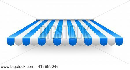 Blue Shop Sunshade Isolated On White Background. Realistic Striped Cafe Awning. Outdoor Market Tent.