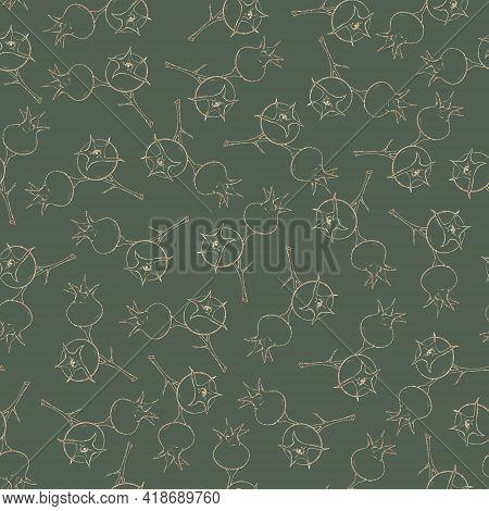 Seamless Pattern. Golden Elements Of Rose Hips
