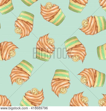 Seamless Pattern. Cupcakes For St. Patricks Day