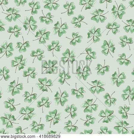 Seamless Pattern. Clover Flowers For St. Patricks Day
