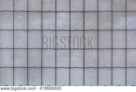 Wire Fence Reinforcing Grid On The Wall The Photo Shows A Wire Fence That Is Placed On A Plastered W