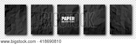 Realistic Black Crumpled Paper Texture. Rough Grunge Old Blank. Torn Edges. Vector Illustration.