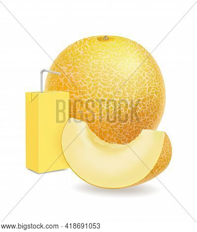 Melon And Juice Package With A Straw .sweet Fruit Sliced Juicy Piece Melon Realistic