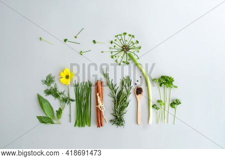 Salad Herb Garden Concept, Dandelion Flower Made From Chives, Parsley And Spring Onions