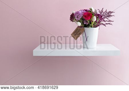 Mothers Day Flowers In A Vase On A Floating Shelf