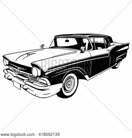 Muscle Car - Old Usa Classic Car, 1950s, Muscle Car Stencil - Vector Clip Art For Tshirt And Emblem