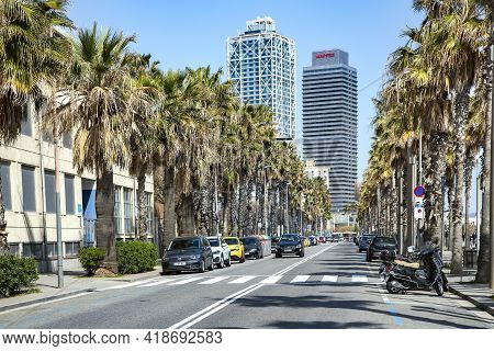 Spain, Barcelona, March, 2021: Urban Traffic On Barceloneta Is A Neighborhood In The Ciutat Vella Di