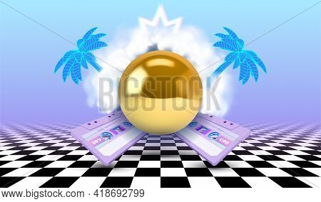 Vaporwave Poster With Cloud Or Vapor Arch Above The Golden Pyramid, Surrounded By Tropical Palm Tree