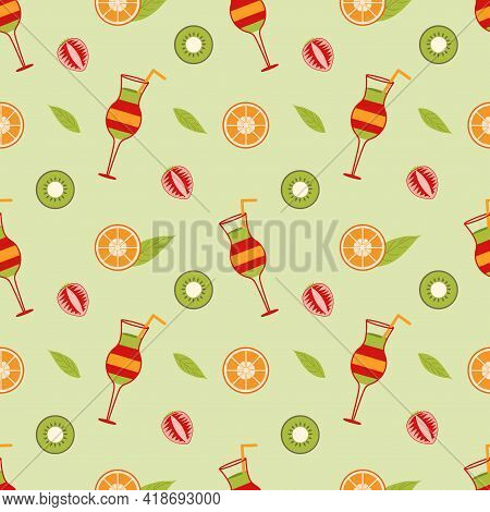 Background With Mix Cocktail And Slices Of Orange, Strawberry, Kiwi And A Leaf On A Green Background