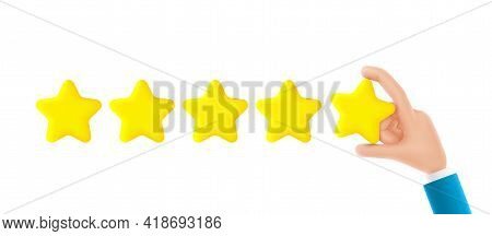 Feedback Or Rating Concept Banner. Cartoon Hand Holds Yellow Star. Vector 3d Illustration. Sign Of F