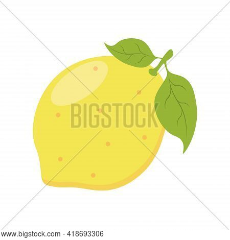 Lemon With Leaves Isolated On White Background. Fresh Whole Lemon. Flat Vector Illustration.