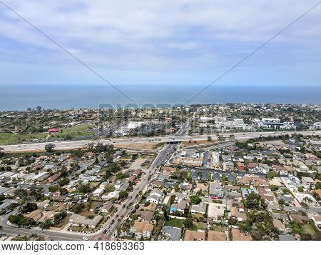 Aerial View Of Highway In Encinitas Town, In San Diego County, California. Usa