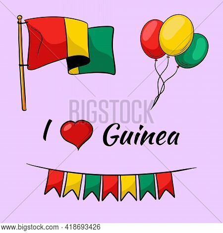 Guinea Flag.flags, Balloons In Colors Of Guinea. Cartoon Style. Isolated Illustration For Design And