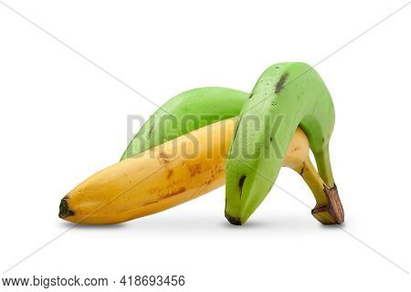 Bananas Isolated On White Background. Three Ripe Multi-colored Bananas. Bouquet Of Yellow And Green
