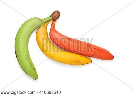 Bananas Isolated On White Background. Ripe Fresh Multi-colored Bananas. Bouquet Of Yellow, Red And G