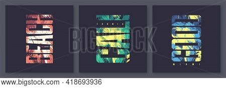 Set Of California, Miami Summer Graphic Letter Tee Designs, Typography Prints, Vector Illustrations.