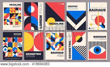 Geometric Posters. Bauhaus Cover Templates With Abstract Geometry. Retro Architecture Minimal Shapes