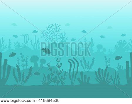Seamless Ocean Bottom. Underwater Coral Reef Silhouette With Sea Plants, Fish And Seaweed. Flat Seas