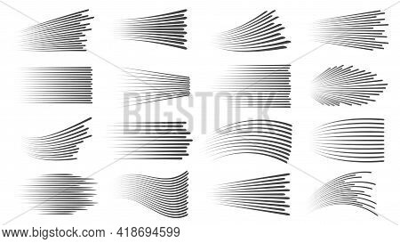 Speed Lines Effect. Fast Motion Manga Or Comic Linear Patterns. Horizontal And Wavy Car Movement Str